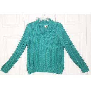 Croft & Barrow Cable Sweater w/Turn Down Collar, L